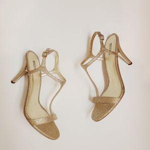 NWOB Michael Kors T Strap Sandal Gold Glitter